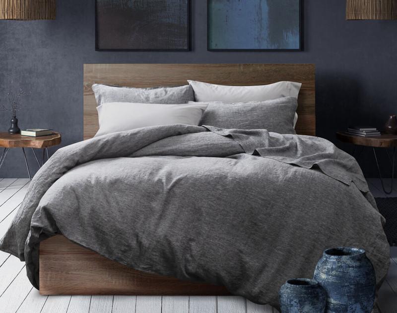 Vintage Washed European Linen Duvet Cover in Indigo Grey in a slate grey room.