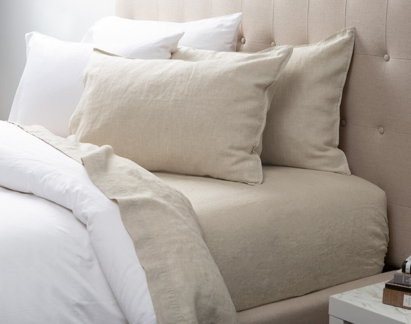 Vintage Washed European Linen Pillowcases in Linen, a soft beige.