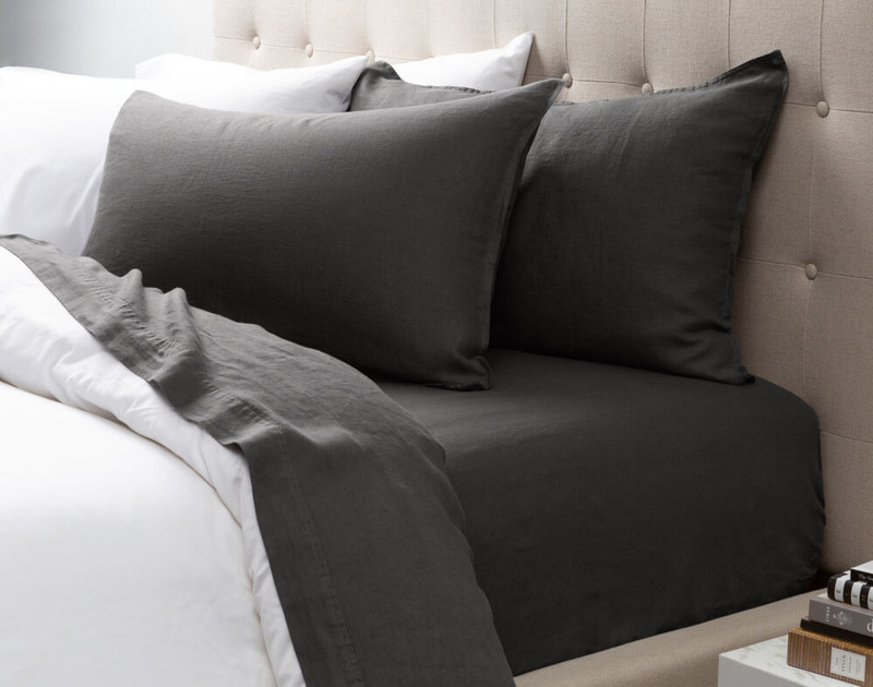 Vintage Washed European Linen Pillowcases in Magnet, a dark grey.