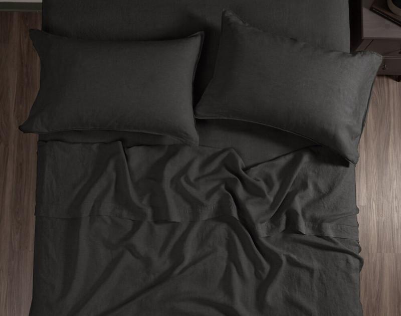 Vintage Washed European Linen Flat Sheet in Magnet, a dark grey.