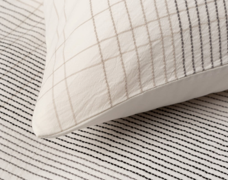 Close up of knife edge on Mitchell Pillow Sham.