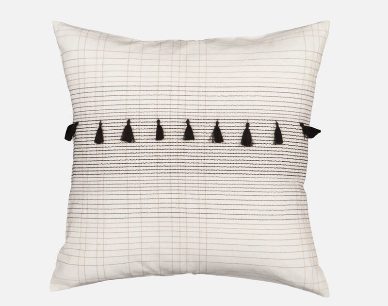 Mitchell Square Cushion Cover features a horizontal line of black tassels.