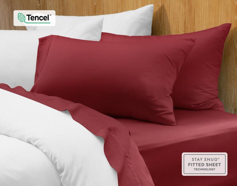 BeechBliss TENCEL™ Modal Sheet Set in Garnet, close up view.