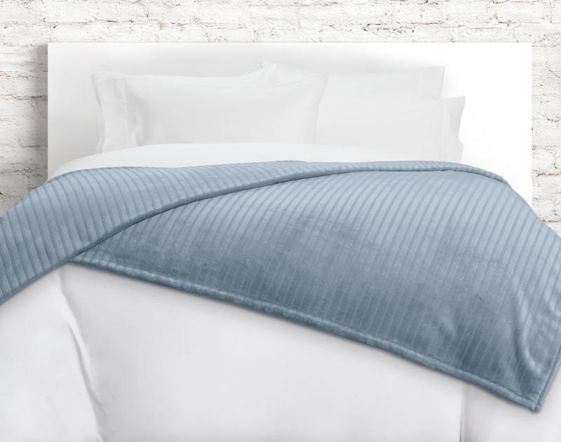 Striped Fleece Blanket in Blue Sea.