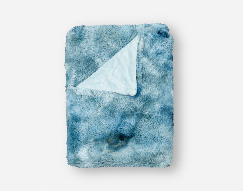 Frosted Shaggy Throw in Ocean, folded top down view.