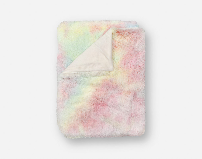 Frosted Shaggy Throw in Rainbow, folded top down view.