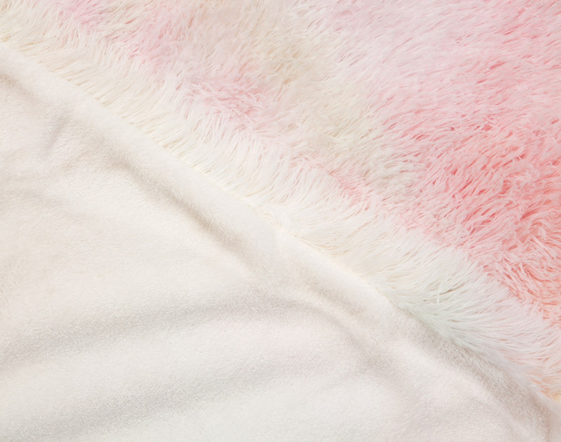 Close up of side by side view on Frosted Shaggy Throw in Rainbow.