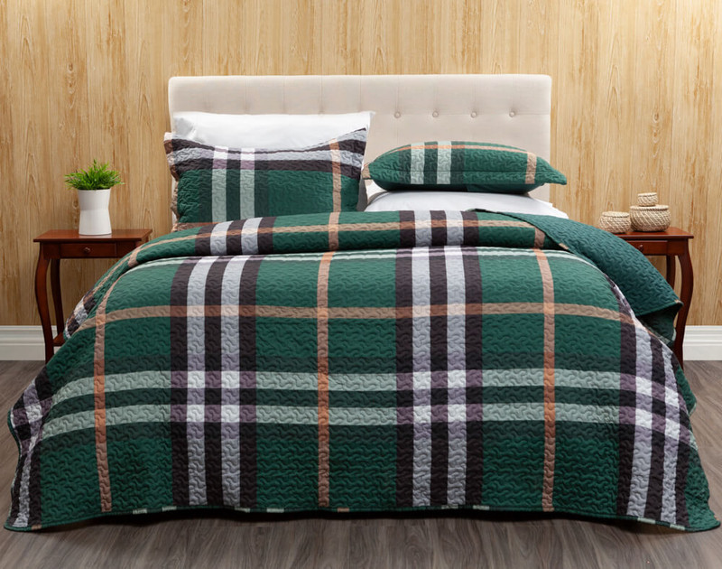 The Barnett Coverlet Set features an oversized plaid in tan, charcoal grey, and white on a bottle green background.