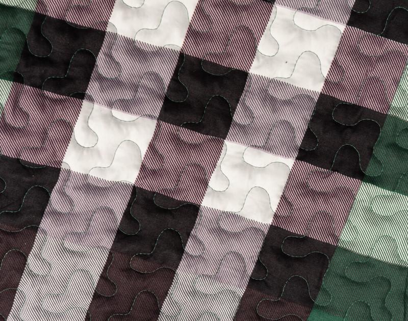 Close up of plaid print.