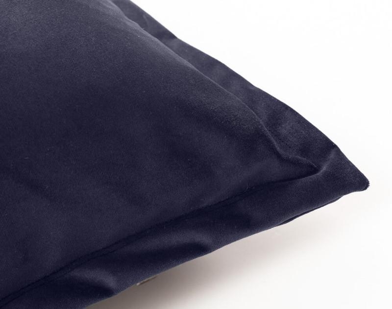 Close up of Velvet Euro Sham in Navy Blue.