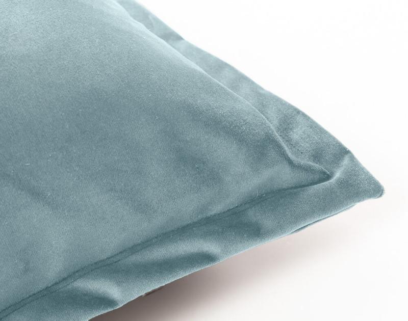 Close up of Velvet Euro Sham in Tidewater, a light aqua blue.