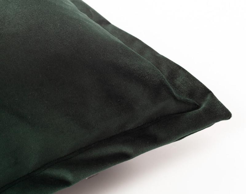 Close up of Velvet Euro Sham in Rainforest, a dark green.