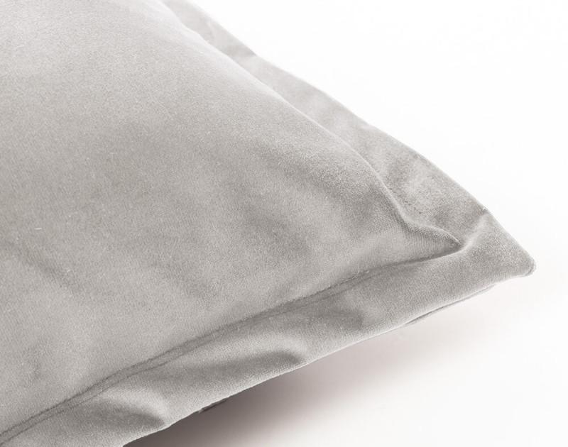 Close up of Velvet Euro Sham in Sleet grey.