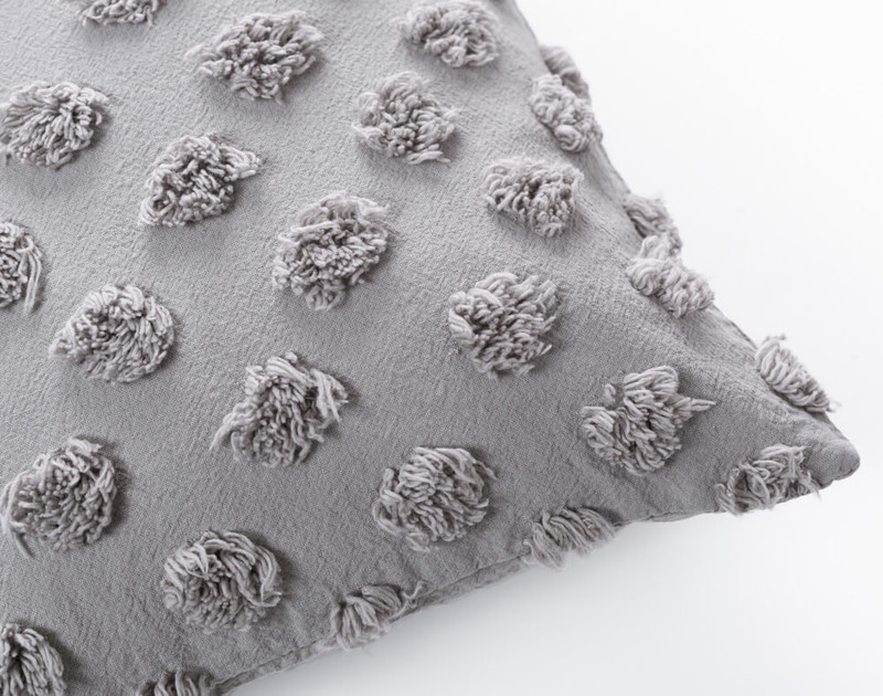 Close up of Tufted Boudoir Cushion Cover in Sleet grey.
