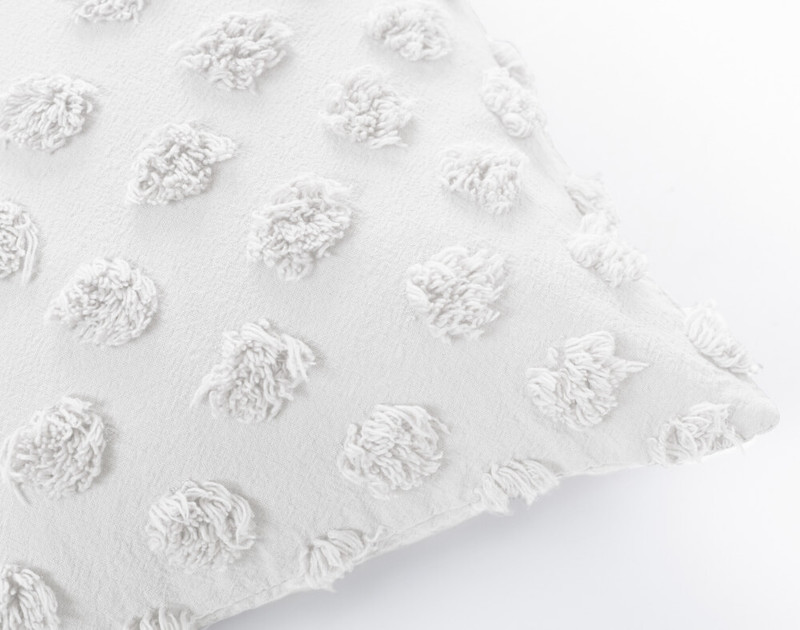 Close up of Tufted Boudoir Cushion Cover in White.