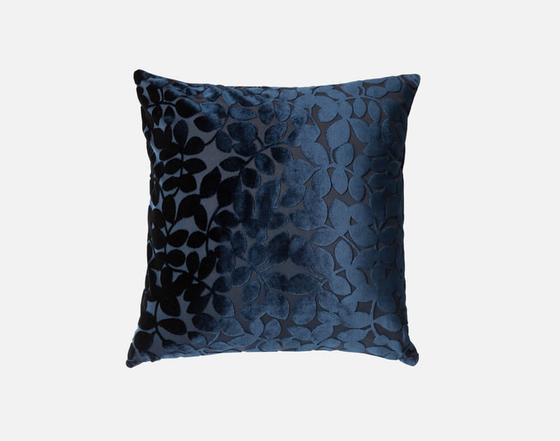 Velvet Vine Square Cushion in Navy blue.