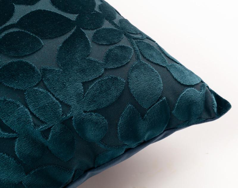 Close up of Velvet Vine Square Cushion in Deep Teal.