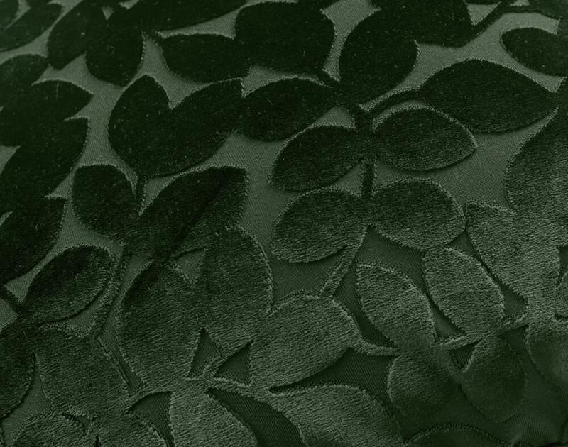 Close up of Velvet Vine Square Cushion in Rainforest, a dark green.