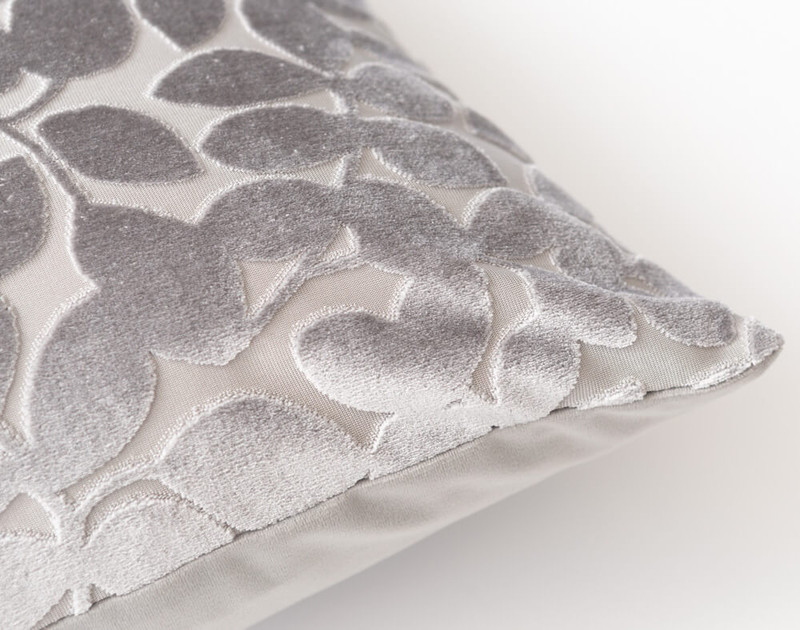 Close up of Velvet Vine Square Cushion in Silver.