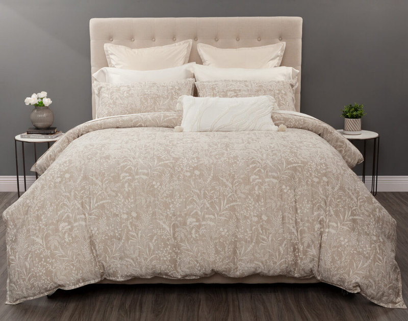 Meadowsweet Duvet Cover, featuring a delicate meadowsweet floral print in shades of taupe and cream.