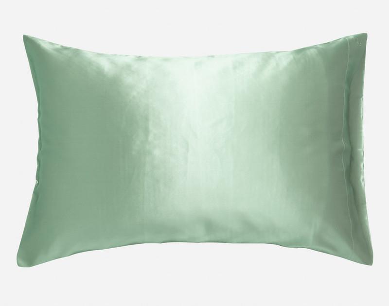 100% Silk Pillowcase in Jadeite, a soft seafoam green.