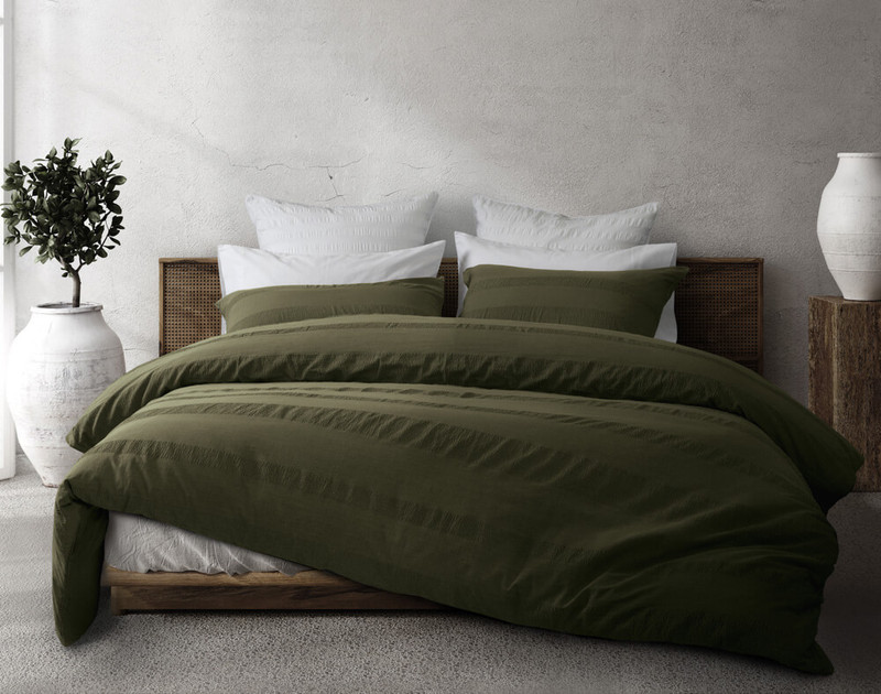 Stonewashed Cotton Duvet Cover Set in an olive green.