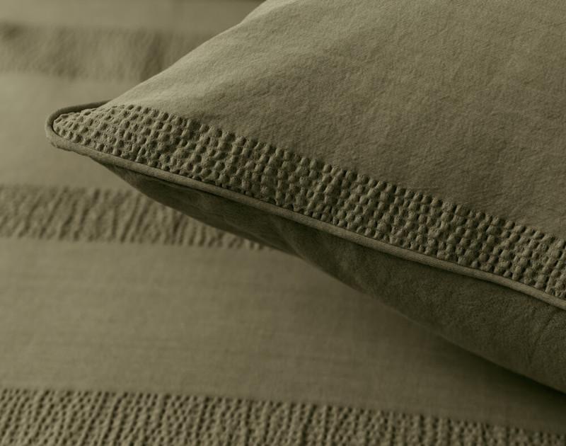 Close up of pillow sham.