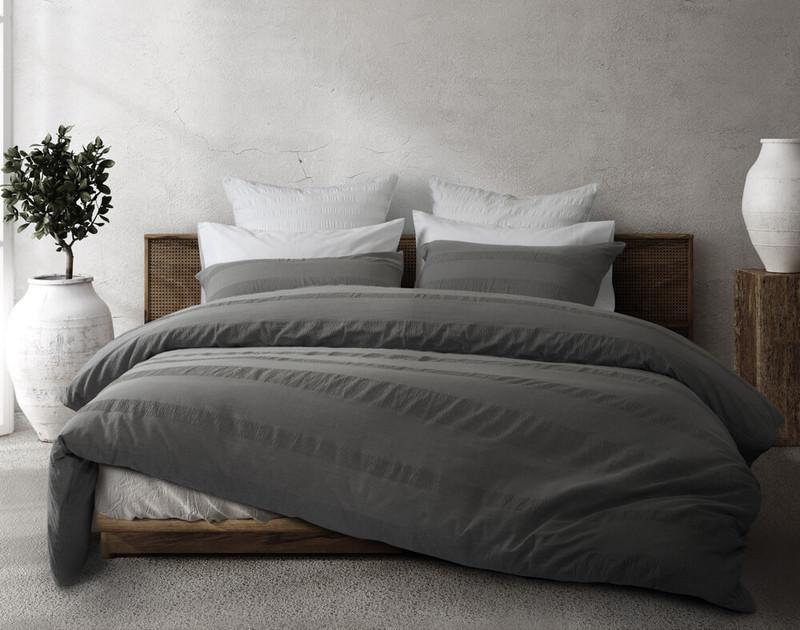 Stonewashed Cotton Duvet Cover Set in a medium grey.