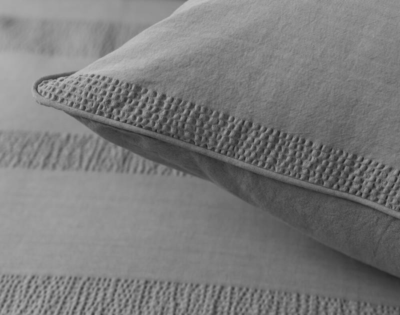 Stone Washed Cotton Duvet Cover Set - Grey