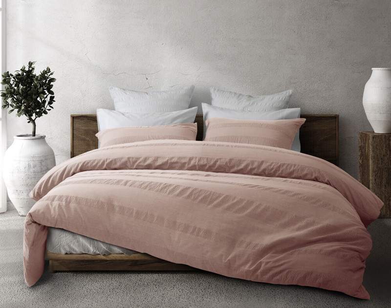 Stonewashed Cotton Duvet Cover Set in a Rose Smoke, a dusty pink.