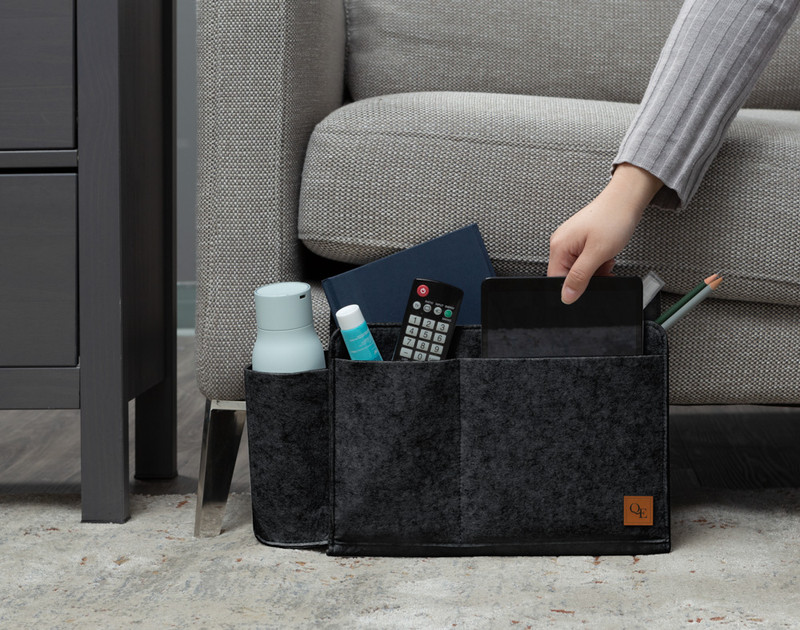 Bedside Felt Pocket sitting by couch