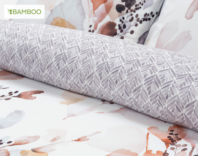 Bergen Duvet Cover rolled to show reverse