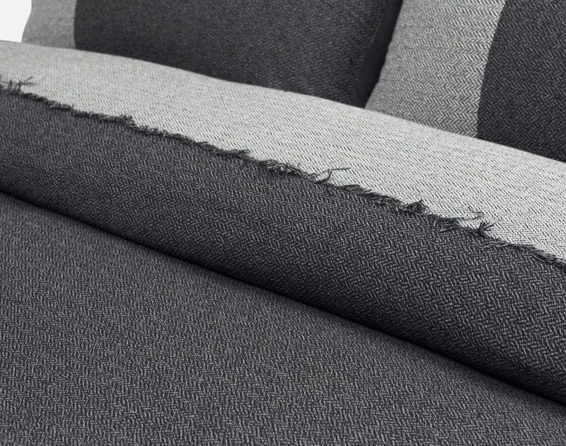 Close-up of the fraying edge pattern on the Thoren Duvet Cover