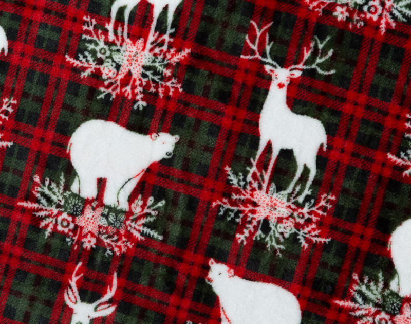 Close-up of Festive Plaid Holiday Throw pattern with snow white bears and reindeer.