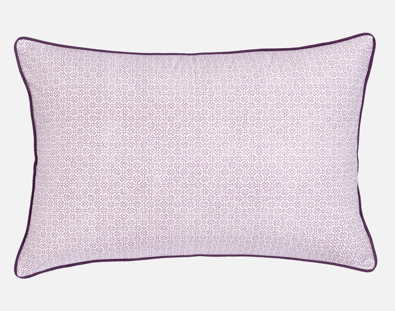 Esprit Pillow Sham reverses to a light pink and purple link print.