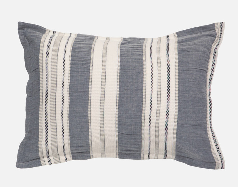 Truro Pillow Sham features indigo grey vertical stripes