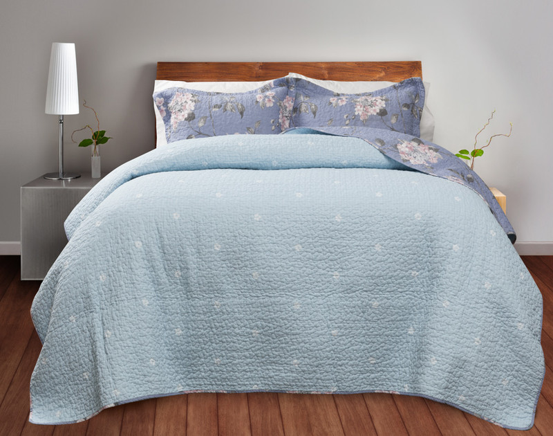 Swallowtail Cotton Quilt Set reverse, a light blue with small white floral detailing