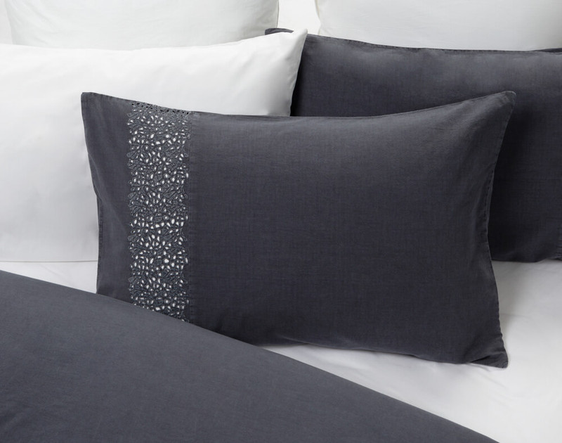 Florencia Pillow Sham pictured with Eucalyptus Luxe Sheet Set in White.