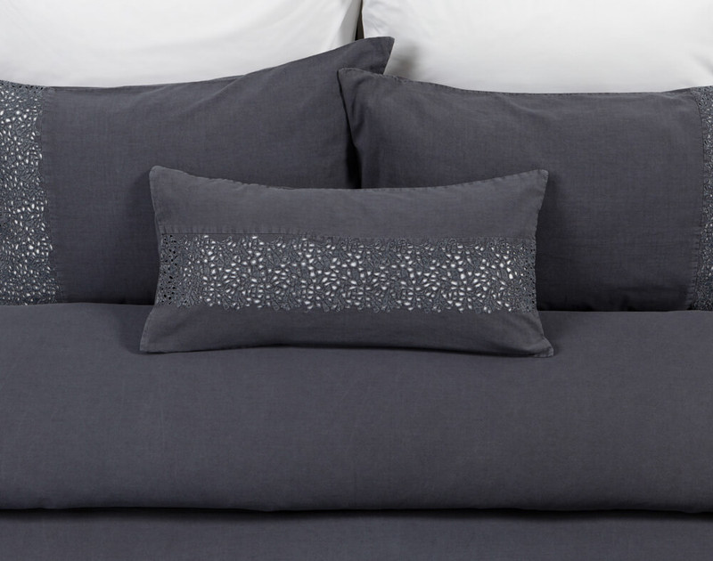 Florencia Boudoir Cushion Cover pictured with Eucalyptus Luxe Sheet Set in White.