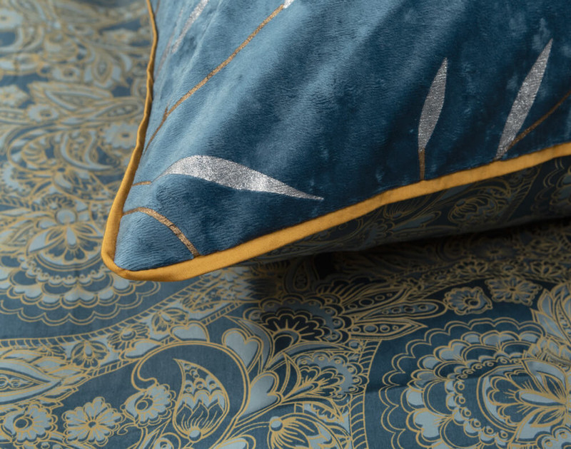 Close-up of Charisma Pillow Sham corner to show yellow piping.