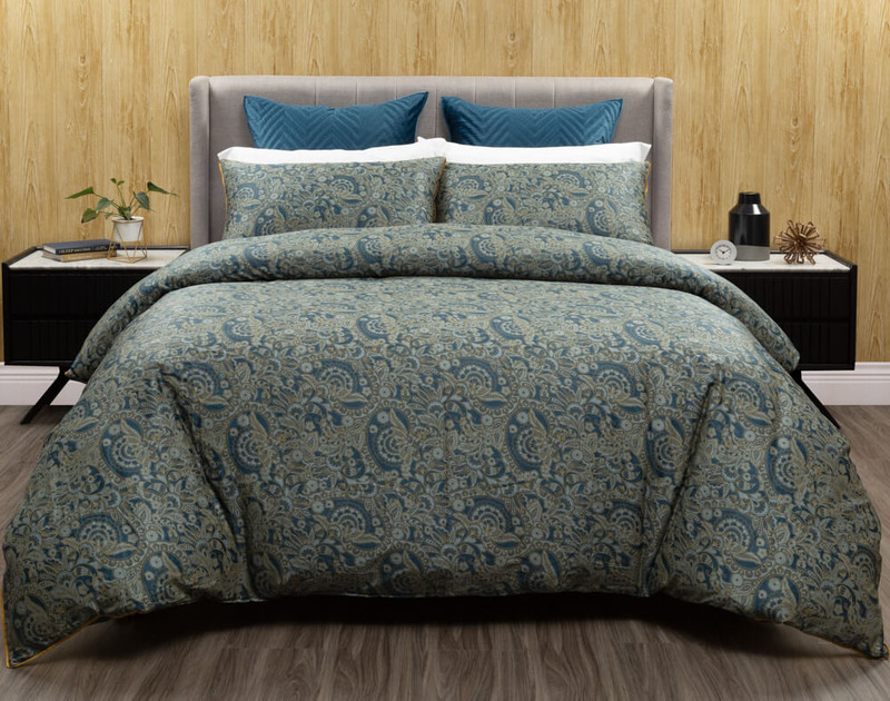 Front view of the Charisma Duvet Cover and its paisley reverse.