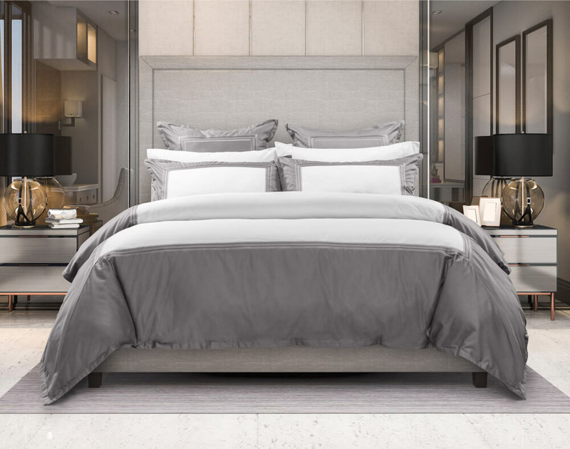 Front view of Hatfield Duvet Cover and Bedding Collection in modern bedroom.