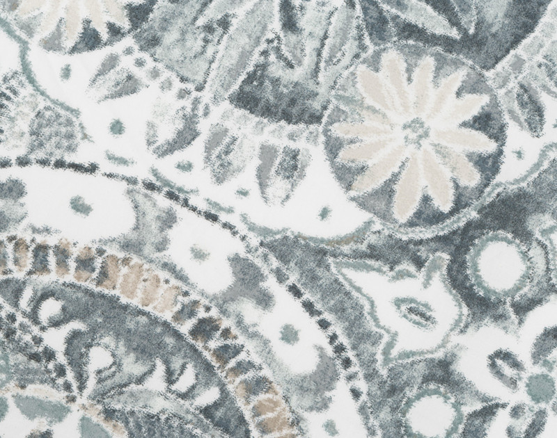 Close up of front of Sonesta pillow sham. Reverses to an intricate hand painted Blue medallion pattern