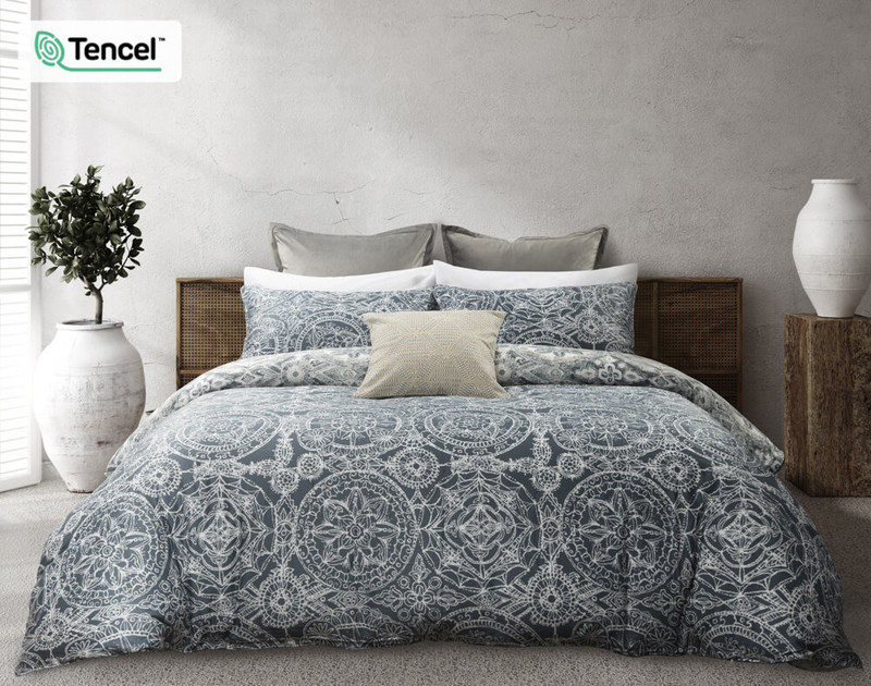 Sonesta Duvet Cover reverse, featuring a medallion print in Blue and White