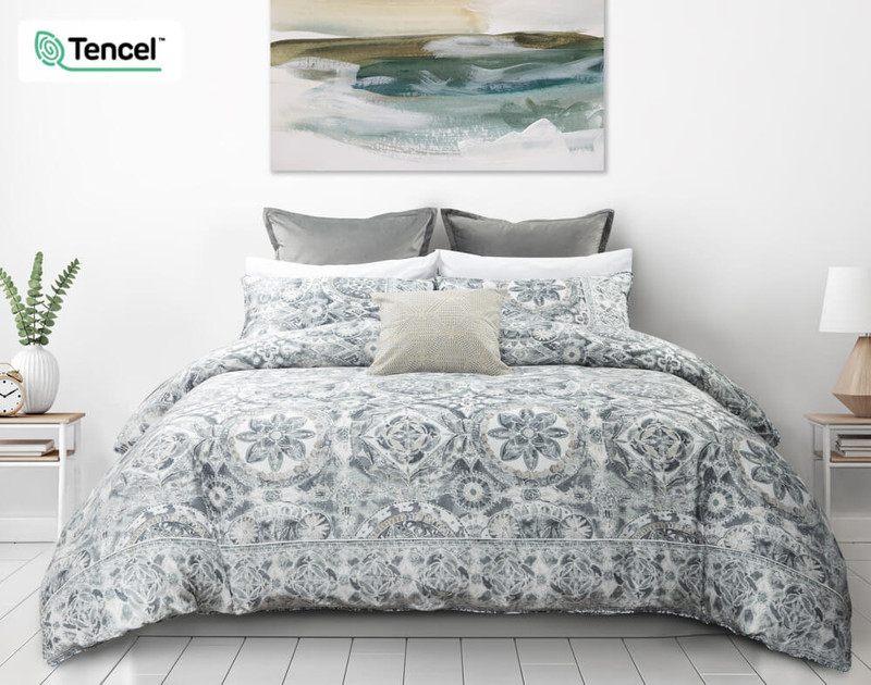 Sonesta Duvet Cover front, featuring a medallion print in White, Grey, Blue and Beige