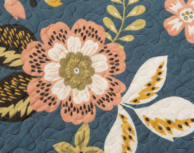 Close-up of the Amita Cotton Quilt Set front floral pattern.