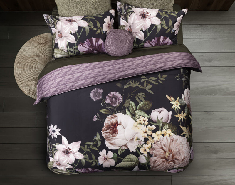 Top view of the Greta Floral Bedding Collection and Duvet Cover.