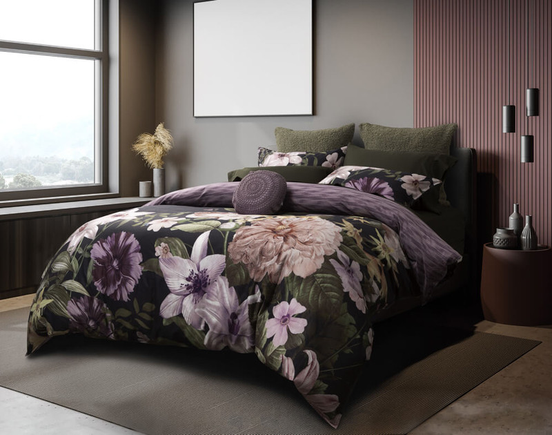 Side view of the Greta Floral Bedding Collection and Duvet Cover.