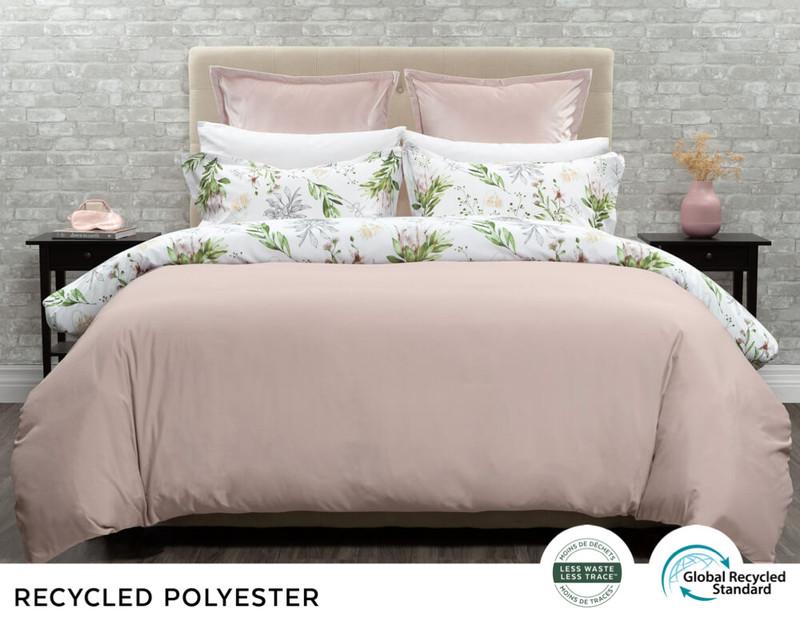 Duet Duvet Cover Set Reverse, a solid blush pink