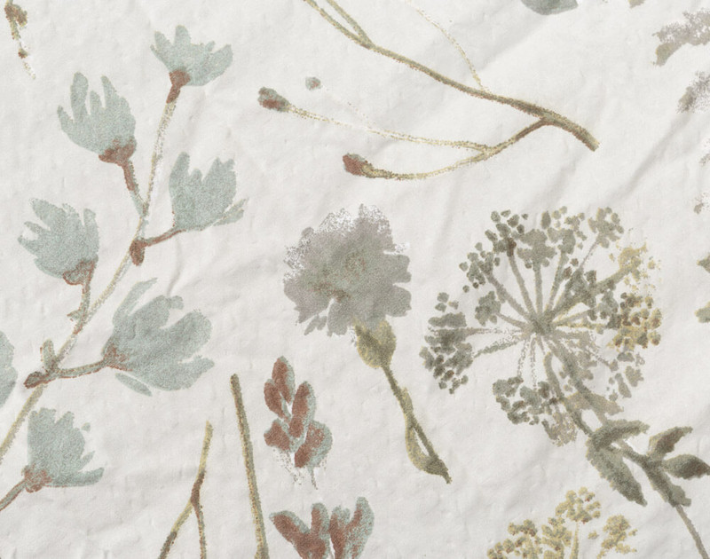 Shawnigan comforter set, detail of print and texture.